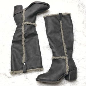 Shoes - Taupe sherpa trim knee high boots